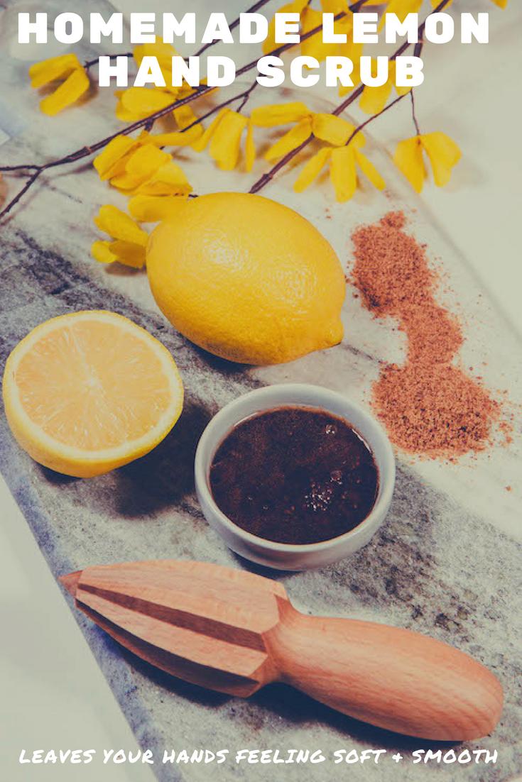 Easy Lemon Homemade Hand Scrub | MadeWithOils.com