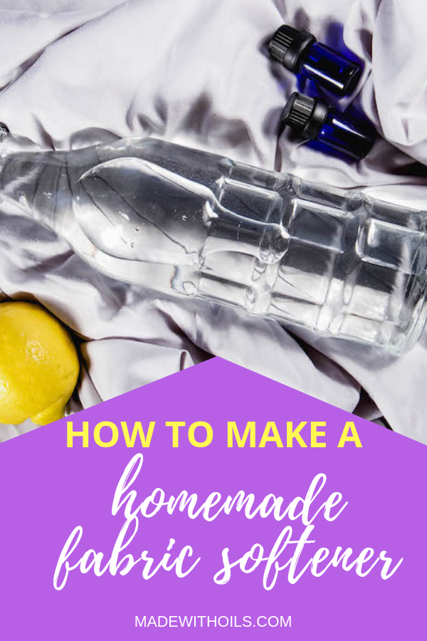 Are you sick and tired of using store bought fabric softeners that are filled with chemicals? Try this all natural homemade fabric softener recipe | MadeWithOils.com