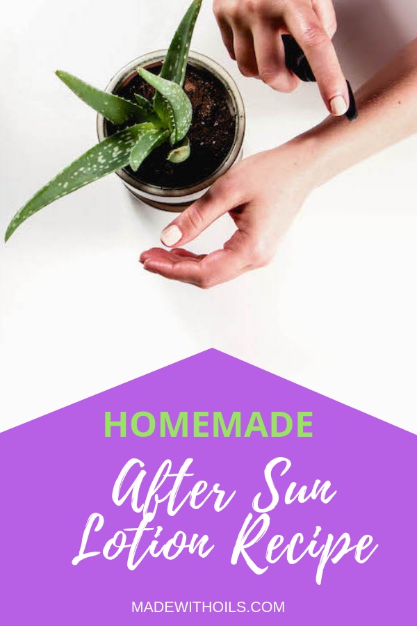 Staying out in the sun and getting sunburn is no joke. Luckily for you I created this homemade after sun lotion recipe | Madewithoils.com