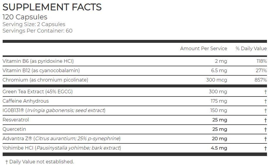 Kindle Fat Burner Ingredients Supplement Facts