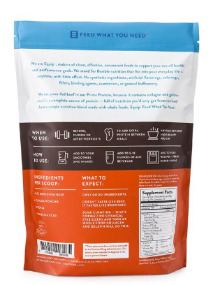 Back of bag of Prime Protein