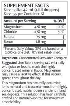 Sunwarrior magnesium liquid nutrition facts
