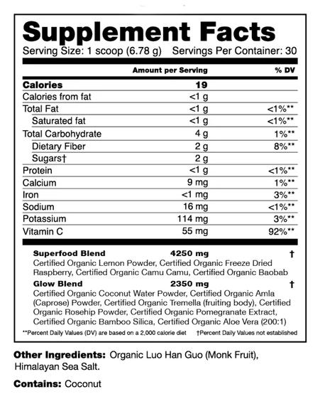 organifi glow nutrition facts